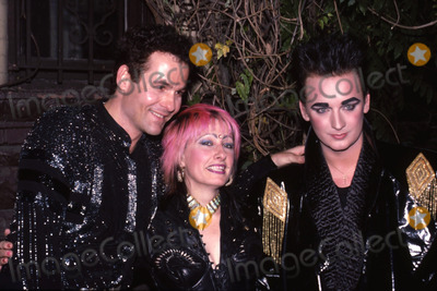 Boy George Photo - Boy George with R Corey Hay and friend Attending Birthday party in his honor at Friends apartment on the Upper West Side in New York CityJune 14 1985Credit McBrideface to face