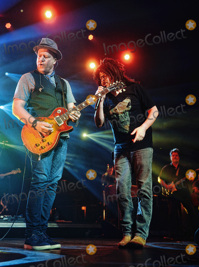 Adam Duritz Photo - 12 May 2015 - Hamilton Ontario Canada  Dan Vickrey (guitarist) and Adam Duritz (vocalist) of Counting Crows perform on stage at Hamilton Place Theatre Photo Credit Brent PerniacAdMedia