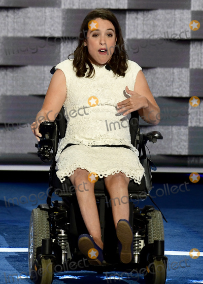 Anastasia Photo - Anastasia Somoza of New York NY along with her twin sister was diagnosed with cerebral palsy and spastic quadriplegia when she was born and is an advocate for Americans with intellectual and developmental disabilities makes remarks at the 2016 Democratic National Convention at the Wells Fargo Center in Philadelphia Pennsylvania on Monday July 25 2016 Photo Credit Ron SachsCNPAdMedia
