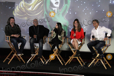 Ronald D Moore Photo - Ronald D Moore Edward James Olmos Mary McDonnell Jamie Bamberat the Hero Complex Film Festival Battlestar Galactica Screening and cast QA Chinese 6 Hollywood CA 05-30-14