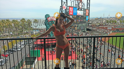 Alicia Arden Photo - Alicia Ardenthe Hoarding Buried Alive actress spends Easter-Eve at ATT Park for the GiantsRockies Game wearing an orange bikini with the price tage still attched ATT Park San Francisco CA 04-15-17