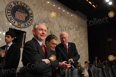 Al Franken Photo - Washington DC 6302010RESTRICTED NEW YORKNEW JERSEY OUTNO NEW YORK OR NEW JERSEY NEWSPAPERS WITHIN A 75  MILE RADIUSElena Kagan nomination hearingAssociate Justice Supreme Court nominee Solicitor General Elena Kagan testifies at day three of her confirmation hearing before the Senate Judiciary Committee (from left) Ranking member Jeff Sessions (R-AL) Sen Al Franken (D-MN) and Cahirman Patrick Leahy (D-VT) during a short recessDigital photo by Elisa Miller-PHOTOlinknet