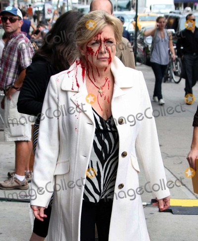 Callie Thorne Photo - New York 9-24-09Denis Leary Lenny Clarke Callie Thorne  Patti DArbanville (with blood all over her face) shooting on the set of Rescue Me outside of Dempseys BarDigital photo by Maggie Wilson-PHOTOlinknet