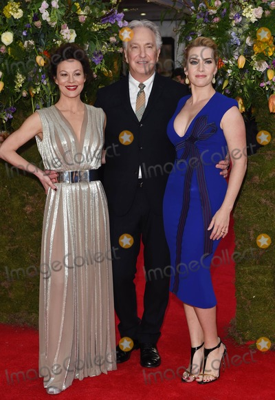 Alan Rickman Photo - Photo by KGC-03starmaxinccomSTAR MAX2015ALL RIGHTS RESERVEDTelephoneFax (212) 995-119641315Helen McCrory Alan Rickman and Kate Winslet at the premiere of A Little Chaos(London England UK)
