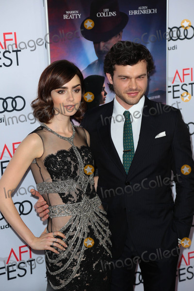 Alden Ehrenreich Photo - Photo by gotpapstarmaxinccomSTAR MAX2016ALL RIGHTS RESERVEDTelephoneFax (212) 995-1196111016Alden Ehrenreich and Lily Collins at The AFI FEST 2016 premiere of Rules Dont Apply(Los Angeles CA)