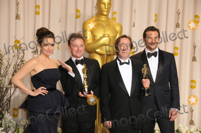 Angus Wall Photo - (L-R) Actress Tina Fey editors Kirk Baxter and Angus Wall and actor Bradley Cooper in the press room at the 84th Annual Academy Awards at the Hollywood  Highland Center on February 26 2012 in Hollywood California
