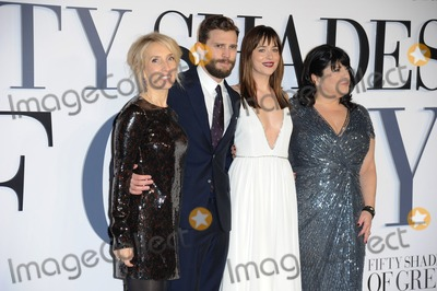 Jamie Dornan Photo - Sam Taylor Johnson actors Jamie Dornan Dakota Johnson and writer E L James arriving for the Fifty Shades of Grey UK Premiere at Odeon Leicester Square London 12022015 Picture by Steve Vas  Featureflash