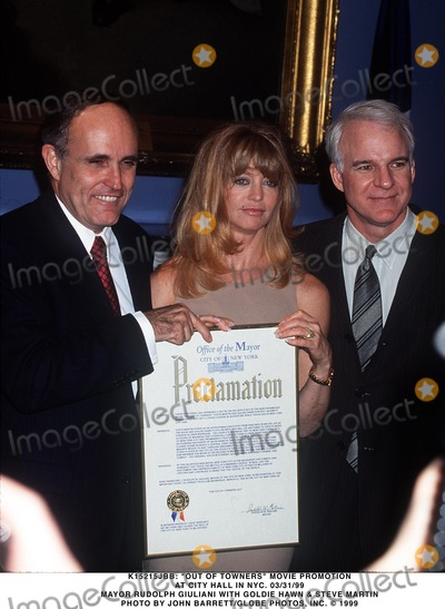 Goldie Photo - 033199 Out of Towners Movie Promotion at City Hall in NYC Mayor Rudolph Giuliani with Goldie Hawn  Steve Martin Photo by John BarrettGlobe Photos Inc