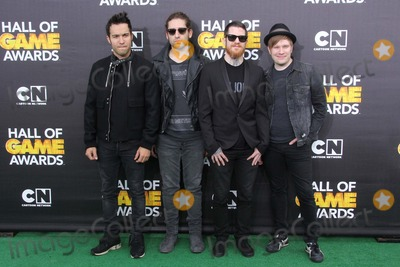 Andy Hurley Photo - Pete Wentz Joe Trohman Andy Hurley and Patrick Stump of Fall Out Boy Attend Cartoon Networks Fourth Annual Hall of Game Awards on 15th February 2014 at Barker Hangarsanta Monicacausa Photo TleopoldGlobe Photos