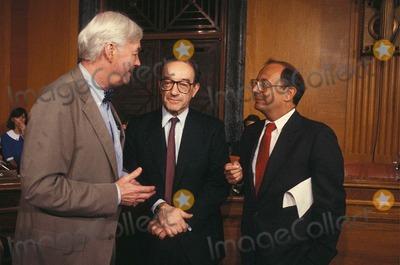 Al DAmato Photo - Alan Greenspan with AL Damato and Pat Moynihan 7-21-1987 14594 Photo by James Colburn-ipol-Globe Photos Inc