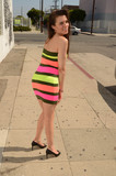 Photos From Alicia Arden Street Sighting in a Colorful Striped Hera Dress