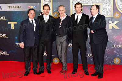 Alan Taylor Photo - Louis dEsposito (Producer) Tom Hiddleston (Actor) Alan Taylor (Governing)Chris Hemsworth (Actor) and Kevin Feige (Producer) attending the Germany premiere of the movie THOR THE DARK KINGDOM at CineStar Sony Center Potsdamer Platz in Berlin Berlin 27102013 Credit Timmface to face