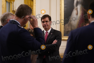 Thomas Payne Photo - United States Secretary of Defense Dr Mark T Esper attends the ceremony where US President Donald J Trump presented the Medal of Honor to Sergeant Major Thomas Payne US Army in the East Room of the White House in Washington DC on September 11 2020 Payne is the 1st living Delta Force member to receive the Medal of Honor Credit Chris Kleponis  Pool via CNPAdMedia