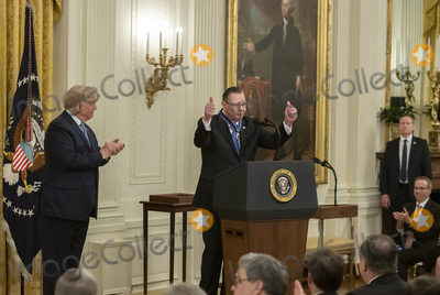 Keane Photo - United States Army General John M Jack Keane (retired) center gestures prior to making remarks after being presented with the Presidential Medal of Freedom by US President Donald J Trump left during a ceremony in the East Room of the White House in Washington DC on Tuesday March 10 2020  Keane is a former Vice Chief of Staff of the US Army and is a Fox News national security analystCredit Ron Sachs  CNPAdMedia