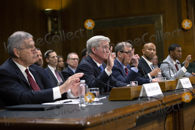 The National Photo - Bob Bowlsby Commissioner of the Big 12 Conference Mark Emmert President of the National Collegiate Athletic Association Dr Douglas Girod Chancellor of the University of Kansas Ramogi Huma Executive Director of the National College Players Association and Kendall Spencer Chair of the Student-Athlete Advisory Committee testify before the Subcommittee on Manufacturing Trade and Consumer Protection at the United States Capitol in Washington DC US on Tuesday February 11 2020  Credit Stefani Reynolds  CNPAdMedia