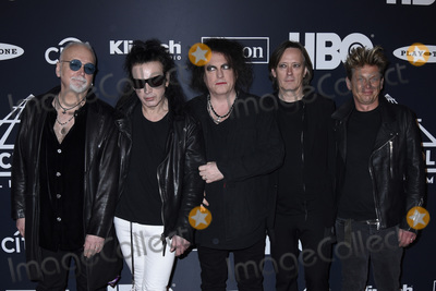 The Cure Photo - 29 March 2019 - Brooklyn New York - Reeves Gabrels Simon Gallup Robert Smith Roger ODonnell and Jason Cooper (The Cure) at the Rock  Roll Hall of Fame Induction Ceremony arrivals at the Barclays Center Photo Credit LJ FotosAdMedia