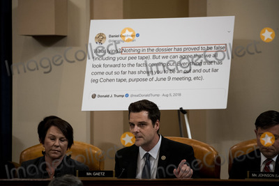 Alabama Photo - United States Representative Matt Gaetz (Republican of Florida) center speaks during a public impeachment inquiry hearing with the US House Judiciary Committee on Capitol Hill in Washington DC on December 9th 2019 At left is US Representative Martha Roby (Republican of Alabama) and at right is US Representative Mike Johnson (Republican of Louisiana)Credit Anna Moneymaker  Pool via CNPAdMedia