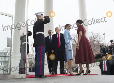 First Lady Michelle Obama Photo - President Barack Obama and First Lady Michelle Obama welcome President-elect Donald Trump and his wife Melania to the White House prior to the inauguration in Washington DC on January 20 2017 Later today Donald Trump will be sworn-in as the 45th President Photo Credit Kevin DietschCNPAdMedia