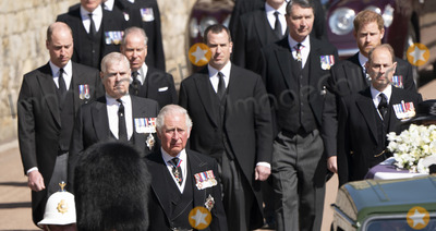 Prince Photo - Photo Must Be Credited Alpha Press 073074 17042021Prince Charles Prince of Wales Prince Andrew Duke of York Prince Edward Earl of Wessex Prince William Duke of Cambridge Peter Phillips Prince Harry Duke of Sussex Earl of Snowdon Viscount Lord David Linley David Armstrong-Jones and Vice-Admiral Sir Timothy Laurence follow Prince Philip Duke of Edinburghs coffin on a modified Jaguar Land Rover during the Ceremonial Procession during the funeral of Prince Philip Duke of Edinburgh at St Georges Chapel in Windsor Castle in Windsor Berkshire No UK Rights Until 28 Days from Picture Shot Date AdMedia