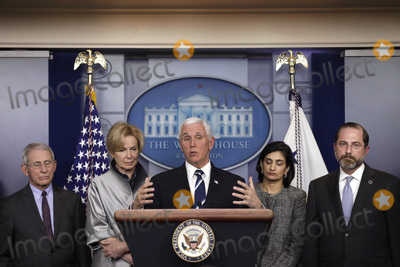 Alex Azar Photo - United States Vice President Mike Pence speaks during a press conference with members of the Coronavirus Task Force at the White House in Washington on March 3 2020 From left to right Director of the National Institute of Allergy and Infectious Diseases at the National Institutes of Health Dr Anthony Fauci White House coronavirus response coordinator Dr Deborah Birx Vice President Pence Seema Verma Administrator Centers for Medicare and Medicaid Services and United States Secretary of Health and Human Services (HHS) Alex Azar Credit Yuri Gripas  Pool via CNPAdMedia