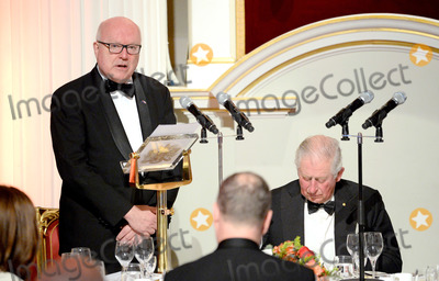 Brandy Photo - 12032020 - Prince Charles Prince of Wales (R) listens to a speech by the High Commissioner for Australia George Brandis (L) as they attend a dinner in aid of the Australian bushfire relief and recovery effort at Mansion House in London Photo Credit ALPRAdMedia