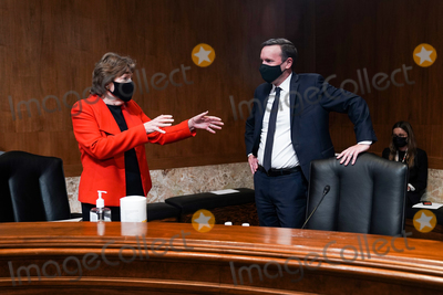 Jeanne Shaheen Photo - United States Senator Jeanne Shaheen (Democrat of New Hampshire) speaks to US Senator Chris Murphy (Democrat of Connecticut) before a Senate Appropriations Subcommittee hearing to examine FEMAs response to COVID-19 with Robert Fenton Jr a senior official performing the duties of  FEMA Administrator on Wednesday April 14 2021Credit Greg Nash  Pool via CNPAdMedia