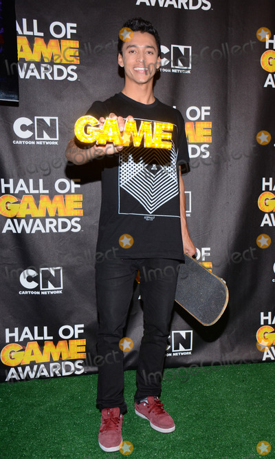 Nyjah Huston Photo - 15 February 2014 - Santa Monica California - Nyjah Huston 2014 Cartoon Networks Fourth Annual Hall of Game Awards - Press Room held at the Barker Hangar Photo Credit AdMedia