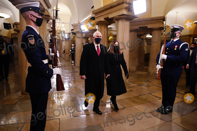 Mike Pence Photo - US Vice President Mike Pence (L) and Second Lady Karen Pence (R) arrive in the Crypt of the US Capitol for President-elect Joe Bidens inauguration ceremony to be the 46th President of the United States in Washington DC USA 20 January 2021AdMedia