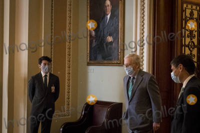 The Used Photo - United States Senate Majority Leader Mitch McConnell (Republican of Kentucky) makes his way to his office following a vote at the US Capitol in Washington DC Wednesday October 21 2020 Credit Rod Lamkey  CNPAdMedia