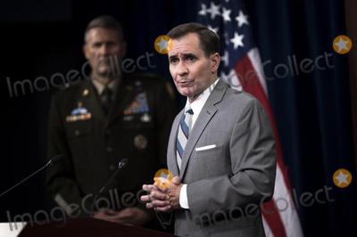 Afghanistan Evacuation Photo - Pentagon Press Secretary John F Kirby briefs the media in the Pentagon Briefing Room Washington DC August 27 2021 Credit Department of Defense via CNPAdMedia