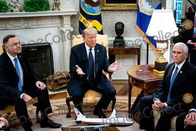 Mike Pence Photo - United States President Donald J Trump and Polish PresidentAndrzej Duda during a bilateral meeting in the Oval Office of the White House in Washington DC on June 24 2020 From left to right President Duda President Trump US Vice President Mike PenceCredit Erin Schaff  Pool via CNPAdMedia
