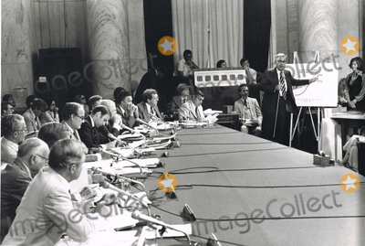 Harold Brown Photo - United States Secretary of Defense Harold Brown right uses charts to illustrate the build-up of US and Soviet missiles during the third day of hearings on the SALT II treaty before the US Senate Committee on Foreign Relations on Capitol Hill in Washington DC on July 11 1979  US Senator Joseph Biden (Democrat of Delaware) is taking notes at left as he listens to Browns testimony  Other recognizable senators in the photo include US Senator George McGovern (Democrat of South Dakota) and Edmund Muskie (Democrat of Maine)Credit Benjamin E Gene Forte  CNPAdMedia