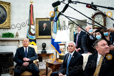 Mike Pence Photo - United States President Donald J Trump and Polish PresidentAndrzej Duda during a bilateral meeting in the Oval Office of the White House in Washington DC on June 24 2020 From left to right President Trump US Vice President Mike Pence US Secretary of State Mike PompeoCredit Erin Schaff  Pool via CNPAdMedia