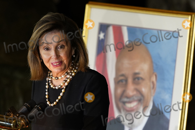 Representative Nancy Pelosi Photo - Speaker of the United States House of Representatives Nancy Pelosi (Democrat of California) speaks during a Celebration of Life for US Representative Alcee Hastings (Democrat of Florida) in Statuary Hall on Capitol Hill in Washington Wednesday April 21 2021 Hastings died earlier this month aged 84 following a battle with pancreatic cancerCredit Susan Walsh  Pool via CNPAdMedia