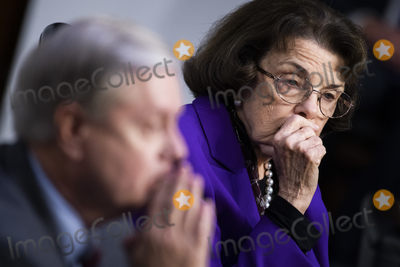 Dianne Feinstein Photo - United States Senator Lindsey Graham (Republican of South  Carolina) Chairman US Senate Judiciary Committee and United States Senator Dianne Feinstein (Democrat of California) Ranking Member US Senate Judiciary Committee attend the Senate Judiciary Committee executive business meeting on Supreme Court justice nominee Amy Coney Barrett in Hart Senate Office Building on Thursday October 15 2020 Credit Tom Williams  Pool via CNP