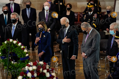 The Used Photo - United States President Joseph R Biden Jr attends a lying in honor ceremony for US Capitol Police officer William Billy Evans on the Capitol Hill in Washington on Tuesday April 13 2021  From left to right US House Minority Leader Kevin McCarthy (Republican of California) Speaker of the US House of Representatives Nancy Pelosi (Democrat of California) President Biden US Senate Majority Leader Chuck Schumer (Democrat of New York) and US Senate Minority Leader Mitch McConnell (Republican of Kentucky)Credit Amr Alfiky  Pool via CNPAdMedia