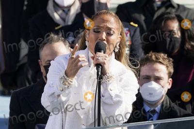 JENNIFER LOPEZ Photo - Jennifer Lopez sings during the 59th Presidential Inauguration at the US Capitol in Washington Wednesday Jan 20 2021 (AP PhotoPatrick Semansky Pool)AdMedia