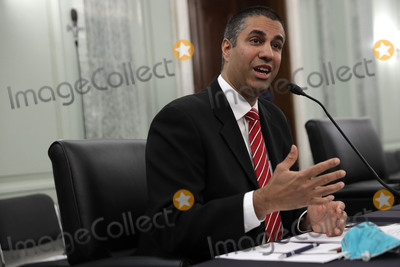 Alex Wong Photo - Ajit Pai Chairman Federal Communications Commission (FCC) testifies during a United States Senate Committee on Commerce Science and Transportation oversight hearing to examine the Federal Communications Commission in Washington DC on June 24 2020 Credit Alex Wong  Pool via CNP  Pool via CNPAdMedia