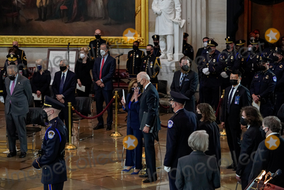 The Used Photo - United States President Joseph R Biden Jr and Speaker of the US House of Representatives Nancy Pelosi (Democrat of California) attend a lying in honor ceremony for US Capitol Police officer William Billy Evans in the Rotunda of the US Capitol in Washington DC on Tuesday April 13 2021 Credit Amr Alfiky  Pool via CNPAdMedia