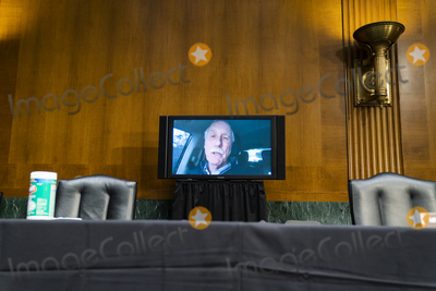Angus King Photo - United States Senator Angus King Jr (Independent of Maine) is seen on a monitor driving his car while questioning Retired General Lloyd Austin during a Senate Armed Services Committee conformation hearing for Austin to be the next Secretary of Defense in the Dirksen Senate Office Building in Washington DC USA 19 January 2021Credit Jim LoScalzo - Pool via CNPAdMedia
