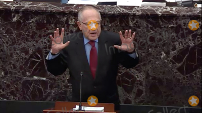 Alan Dershowitz Photo - In this image from United States Senate television Alan Dershowitz tries to explain his statement from Tuesday evening where he seemed to say if a president sees their own reelection as being in the national interest he cannot be considered corrupt unless it also involves a crime during question-and-answer portion of the impeachment trial of US President Donald J Trump in the US Senate in the US Capitol in Washington DC on Wednesday January 29 2020Mandatory Credit US Senate Television via CNPAdMedia