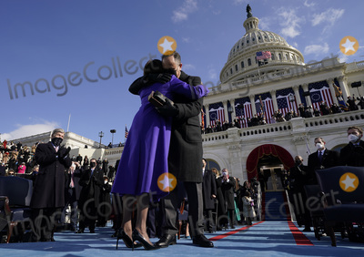 Supreme Court Photo - Vice President Kamala Harris hugs as her husband Doug Emhoff after she was sworn in by Supreme Court Justice Sonia Sotomayor during the 59th Presidential Inauguration at the US Capitol in Washington Wednesday Jan 20 2021 (AP PhotoAndrew Harnik Pool)AdMedia