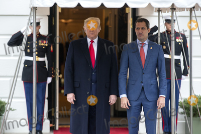 Juanes Photo - United States President Donald J Trump left stands for a photo with Venezuelan opposition leader Juan Guaido outside the White House in Washington DC US on Wednesday February 5 2020Credit Stefani Reynolds  CNPAdMedia