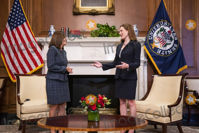 The Used Photo - United States Supreme Court nominee Judge Amy Coney Barrett (R) speaks with US Senator Martha McSally (Republican of Arizona) (L) in the US Capitol in Washington DC USA 21 October 2020Credit Jim LoScalzo  Pool via CNPAdMedia