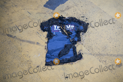 Vice President Joe Biden Photo - A burned Trump shirt remains on the ground as people celebrate in the streets near the White House in the hours after Democratic presidential candidate and former Vice President Joe Biden was elected president in Washington DC Saturday November 7 2020 Credit Rod Lamkey  CNPAdMedia