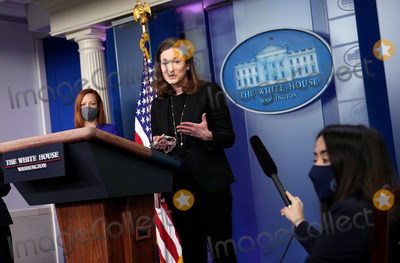 Executive Director Photo - Co-Chair and Executive Director of the Gender Policy Council Jennifer Klein (R) speaks alongside White House Press Secretary Jen Psaki during a press briefing at the White House in Washington DC on Monday March 8 2021 Today President Biden signed an executive order on to establish the Gender Policy Council that will work to advance gender equality Credit Kevin Dietsch  Pool via CNPAdMedia