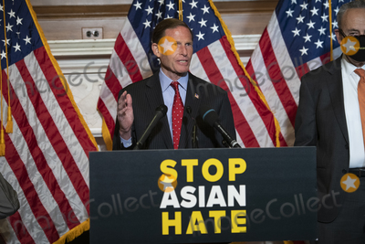 The Used Photo - United States Senator Richard Blumenthal (Democrat of Connecticut) offers remarks during a press conference following Senate passage of the COVID-19 Hate Crimes Act at the US Capitol in Washington DC Thursday April 22 2021 Credit Rod Lamkey  CNPAdMedia