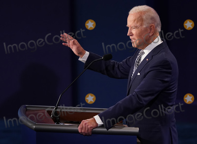Presidential Campaign Photo - Democratic presidential nominee Joe Biden speaks during the first of three scheduled 90 minute presidential debates with President Donald Trump Cleveland Ohio on Tuesday September 29 2020 Credit Kevin Dietsch  Pool via CNPAdMedia