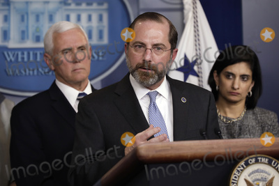 Alex Azar Photo - United States Secretary of Health and Human Services (HHS) Alex Azar speaks during a press conference with Vice President Mike Pence left and Seema Verma Administrator Centers for Medicare and Medicaid Services right of the Coronavirus Task Force at the White House in Washington on March 3 2020 Credit Yuri Gripas  Pool via CNPAdMedia
