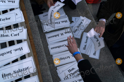 The Unit Photo - Guest name tags for seating assignments were organized before Joe Biden was sworn in as the 46th President of the United States on Capitol Hill in Washington DC on January 20 2020 Credit Erin Schaff  Pool via CNPAdMedia